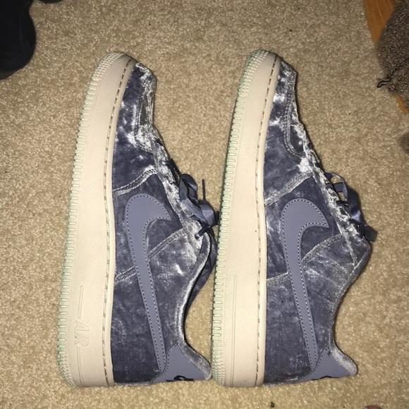 Nike Air Force In Blue Crushed Velvet